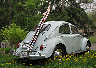 1964 VW Beetle with ski rack