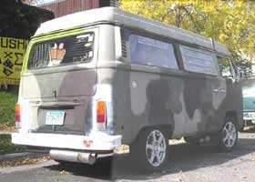 army green VW Camper