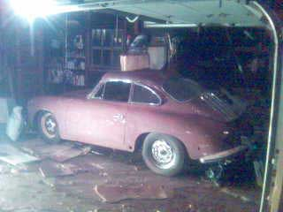 porsche 356 in the garage