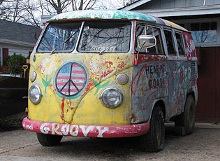 classic Hippie Flower Power VW Bus