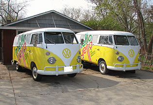 2 1966 split-window VW buses