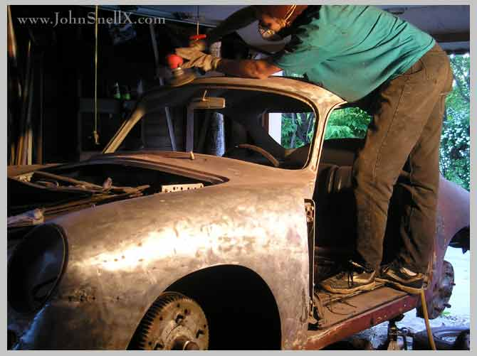 paint stripping a porsche 356