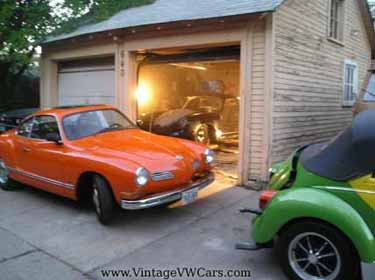 my garage karmann ghia, porsche and vw beetle