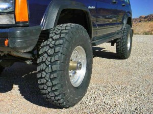 BF Goodrich KM2 Tires on a Cherokee